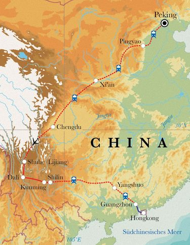 Route Rundreise China, 24 Tage