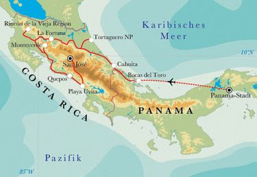 Route Rundreise Costa Rica & Panama, 21 Tage