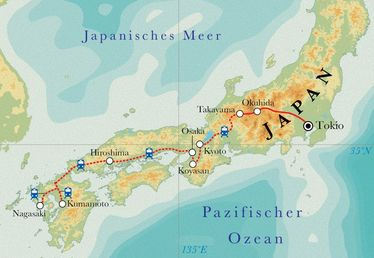 Route Rundreise Japan, 22 Tage