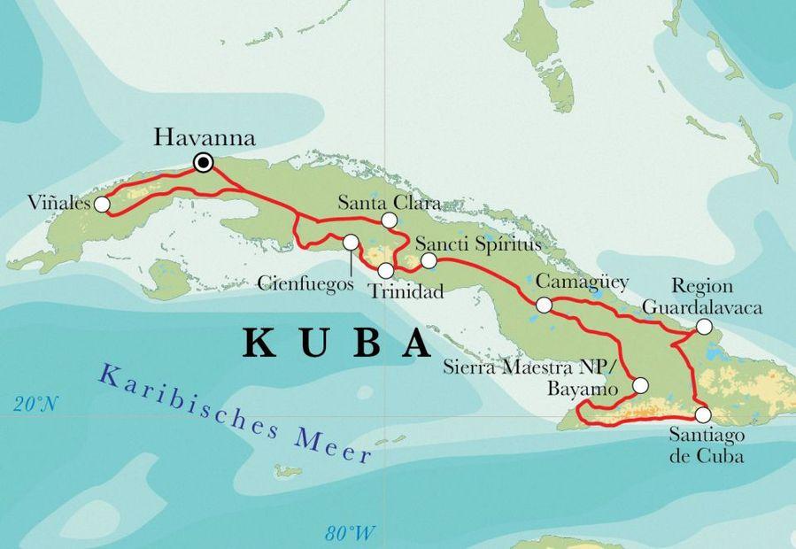 Kuba Karte Rundreise.Rundreise Kuba 20 Tage
