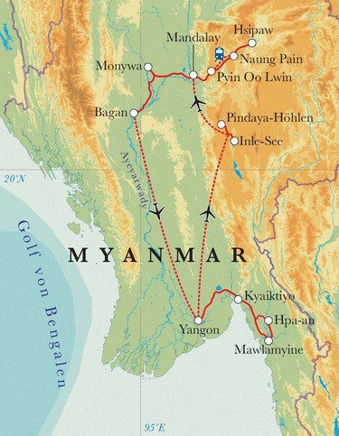 Route Rundreise Myanmar, 22 Tage