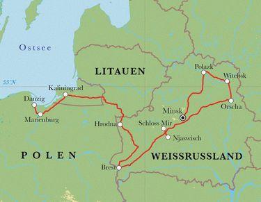 Königsberg Kaliningrad Karte.Rundreise Weißrussland Kaliningrad Polen 12 Tage