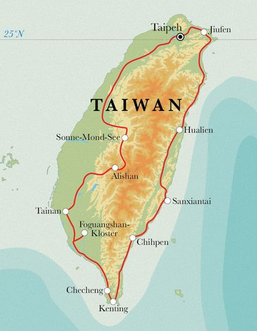 Route Rundreise Taiwan, 15 Tage