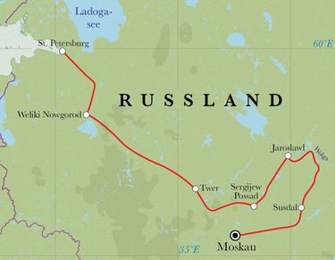 Route Rundreise Russland, 14 Tage