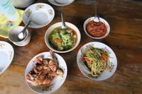 Traditionelles Essen, Ban Mae Kampong, Thailand
